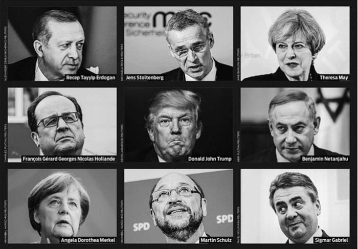 Sprenghoder mot folkeretten:  Foto: Reuters/Pool New/Michaela Rehle/Pool New/Charles Platiau/Kevin Lamarque/Pool New/Hannibal Hanschke/Hannibal Hanschke/Pool New.